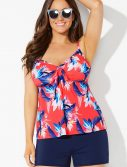 Plus Size Ambrosia Cup Sized Tie Front Underwire Tankini with Navy Banded Short