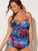 Plus Size Amelie Cup Sized Tie Front Underwire Tankini