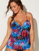 Plus Size Amelie Cup Sized Tie Front Underwire Tankini Top