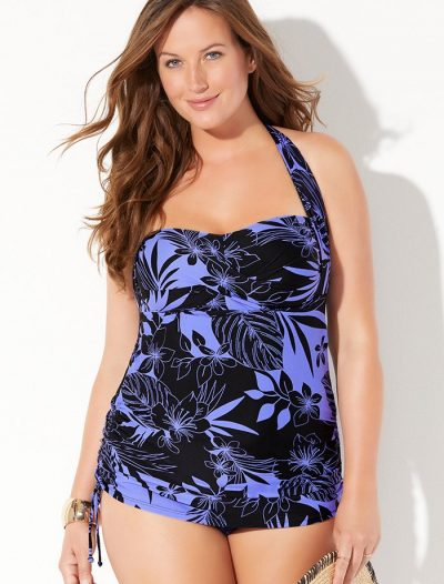 Plus Size Anchor Halter Convertible Sheath One Piece Swimsuit