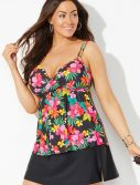 Plus Size Anguilla Loop Strap Tankini with Slit Skirt