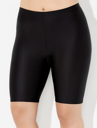 Plus Size Aquabelle Chlorine Resistant Black Long Bike Short