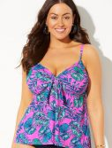 Plus Size Arcadia Cup Sized Tie Front Underwire Tankini Top