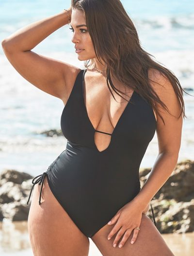 Plus Size Ashley Graham x Swimsuits For All A-List Plunge One Piece Swimsuit