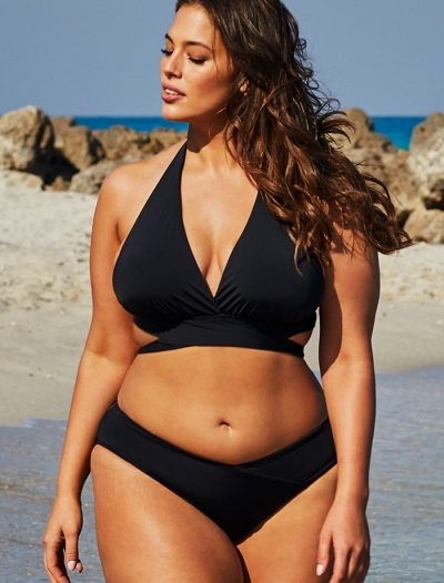 Plus Size Ashley Graham x Swimsuits For All Ambassador Black Wrap Halter Bikini