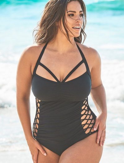 Plus Size Ashley Graham x Swimsuits For All Boss Black Cut Out Underwire One Piece Swimsuit