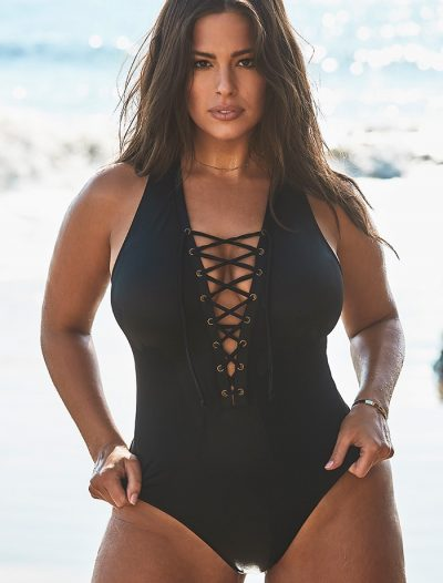 Plus Size Ashley Graham x Swimsuits For All CEO Black Lace Up One Piece Swimsuit
