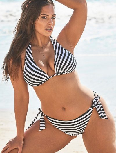 Plus Size Ashley Graham x Swimsuits For All Elite Striped Ribbed Triangle Bikini