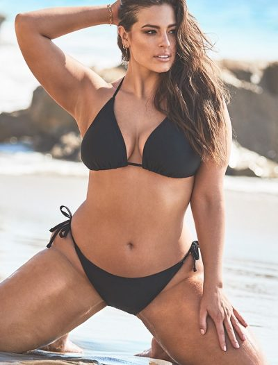 Plus Size Ashley Graham x Swimsuits For All Icon Black Triangle Bikini with Side Tie Brief