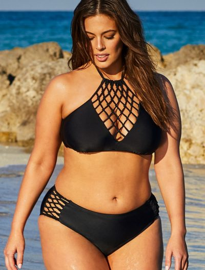 Plus Size Ashley Graham x Swimsuits For All Leader Black Halter High Neck Bikini