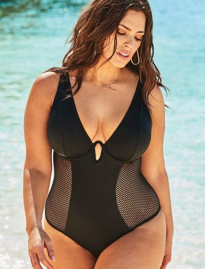 Plus Size Ashley Graham x Swimsuits For All Majestic Plunge One Piece Swimsuit