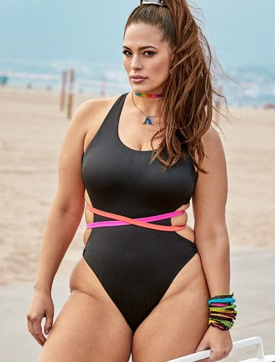Plus Size Ashley Graham x Swimsuits For All Throwback One Piece Swimsuit
