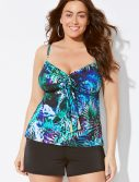 Plus Size Bali Cup Sized Tie Front Underwire Tankini With Banded Short