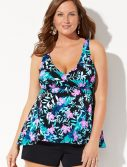 Plus Size Beachfront Flowy Tankini with Banded Short