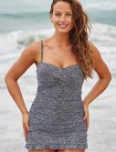 Plus Size Bedrock Crossover Ruffle Swimdress