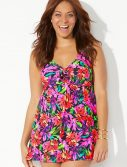 Plus Size Begonia Tie Front V-Neck Swimdress