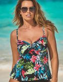 Plus Size Belize Cup Sized Tie Front Underwire Tankini Top