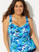 Plus Size Bellflower Ruched Twist Front Tankini Top