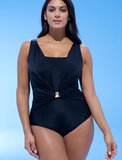 Plus Size Black Belted One Piece Swimsuit