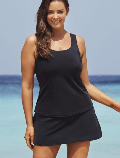 Plus Size Black Classic Tankini with Skirt