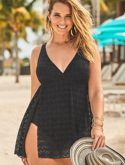 Plus Size Black Crochet Side Slit V-Neck Swimdress