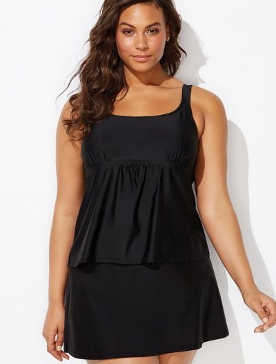 Plus Size Black Flared Tankini with Skirt