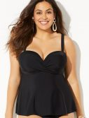 Plus Size Black Flowy Underwire Tankini Top