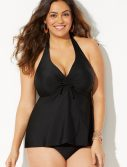 Plus Size Black Flyaway Halter Tankini Set
