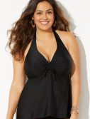 Plus Size Black Flyaway Halter Tankini Top