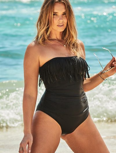 Plus Size Black Fringe Bandeau One Piece Swimsuit