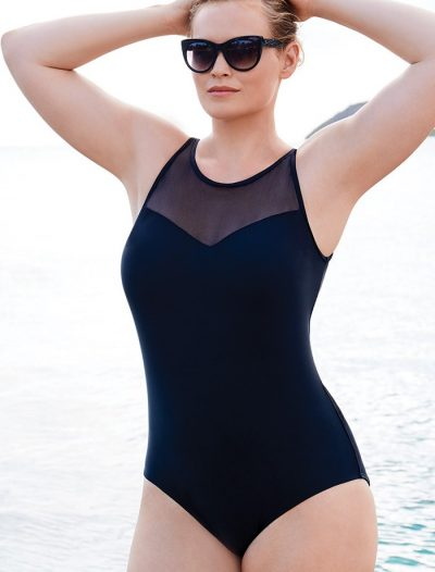 Plus Size Black Mesh High Neck One Piece Swimsuit