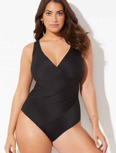 Plus Size Black Ribbed Surplice One Piece Swimsuit