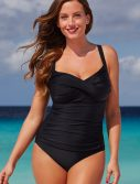 Plus Size Black Ruched Sweetheart One Piece Swimsuit