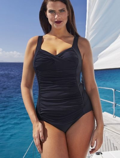 Plus Size Black Ruched Twist Front Tankini