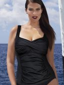 Plus Size Black Ruched Twist Front Tankini Top