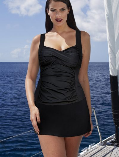 Plus Size Black Ruched Twist Front Tankini with Side Slit Skirt