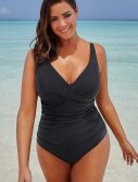 Plus Size Black Ruched V-Neck One Piece Swimsuit