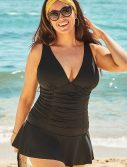 Plus Size Black Shirred V-Neck Mini Swimdress