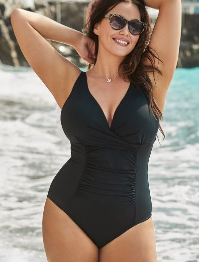 Plus Size Black Twist Ruched One Piece Swimsuit