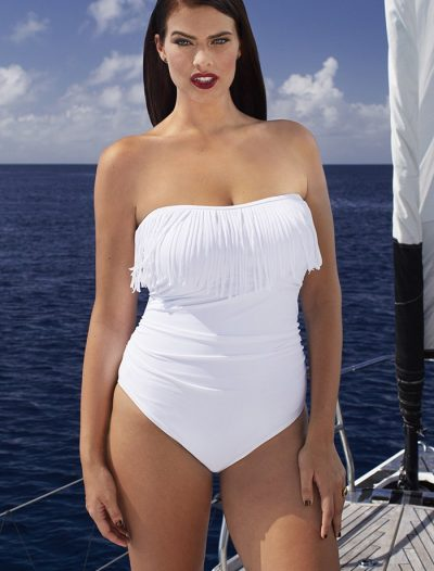 Plus Size Blanco Fringe Bandeau One Piece Swimsuit