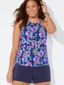 Plus Size Blossom High Neck Tankini with Navy Banded Short
