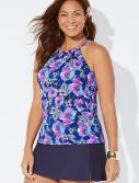 Plus Size Blossom High Neck Tankini with Side Slit Navy Skirt