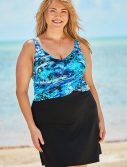 Plus Size Blue Abstract Faux Wrap Underwire Swimdress