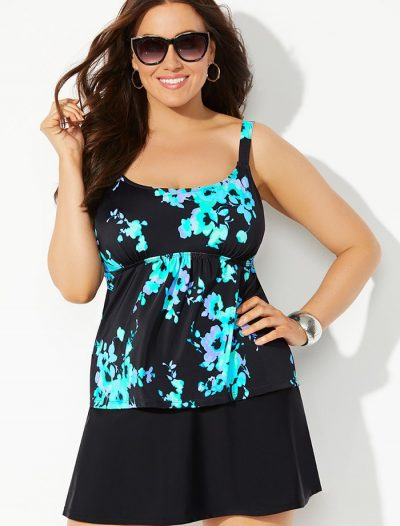 Plus Size Blue Poppy Flared Tankini with Skirt