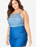 Plus Size Blue Striped Keyhole Shirred Halter Swimdress