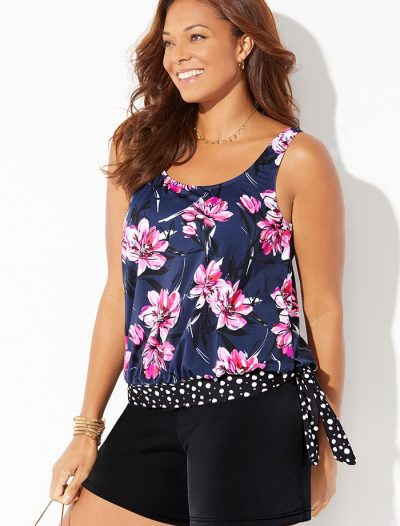 Plus Size Broadbeach Side Tie Blouson Tankini with Loose Short