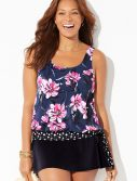 Plus Size Broadbeach Side Tie Blouson Tankini with Skirt