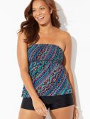 Plus Size Broadwater Smocked Bandeau Tankini with Boy Short