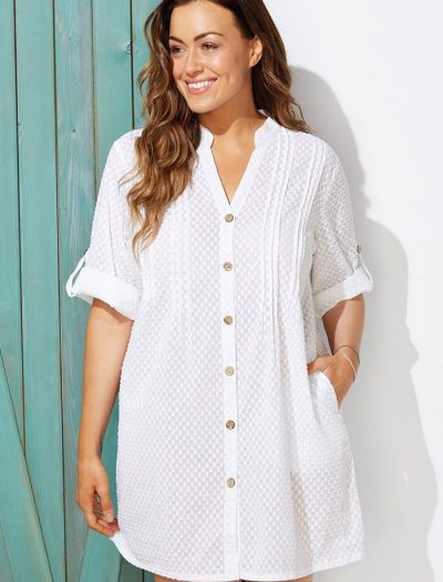 Plus Size Brynn White Button Up V-Neck Shirt