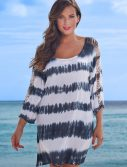 Plus Size Callie Striped Long Ripped Sleeve Tunic